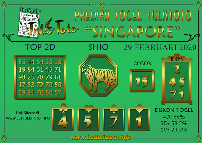 Prediksi Togel SINGAPORE TULISTOTO 29 FEBRUARI 2020