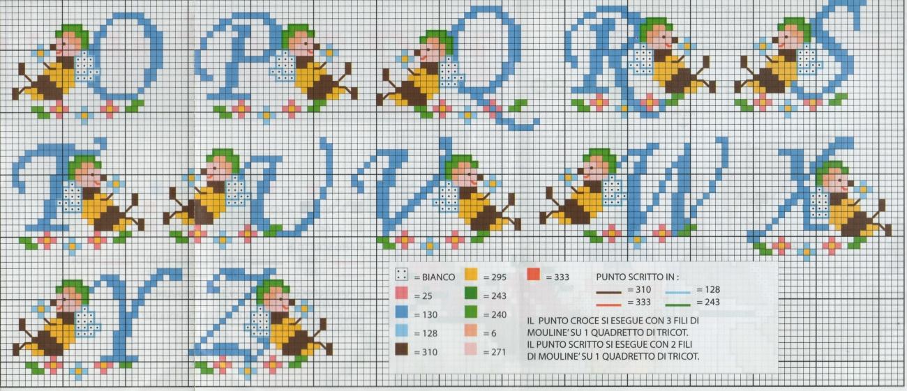 Professione donna schema punto croce alfabeto con le apette for Punto croce schemi alfabeto