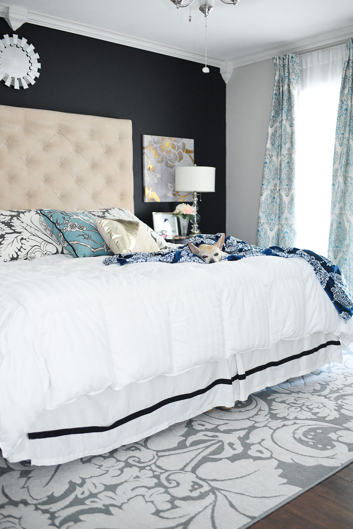 Navy & White Master Bedroom Refresh | Monica Wants It on Master Bedroom Curtains  id=66202