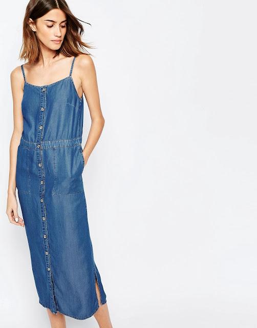 warehouse denim dress, denim strappy dress, denim cami dress,