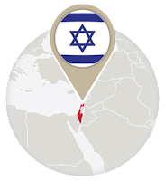 Israeli flag and map