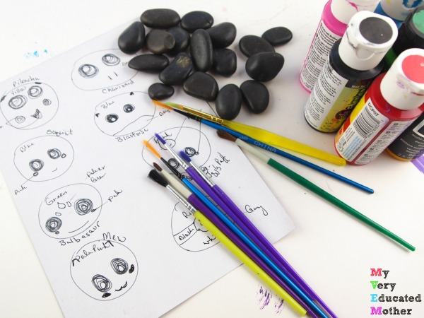 Gather supplies to make your own Pokemon Rocks! Kids Craft and Activity