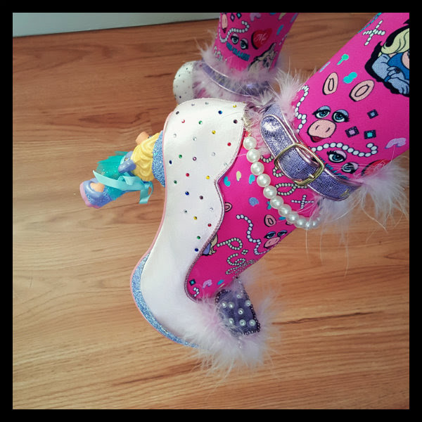 detailed side of character heel and pearl strap and jewels on Irregular Choice Muppets heels