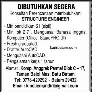 Lowongan Kerja Structure Engineer Taman Baloi Mas