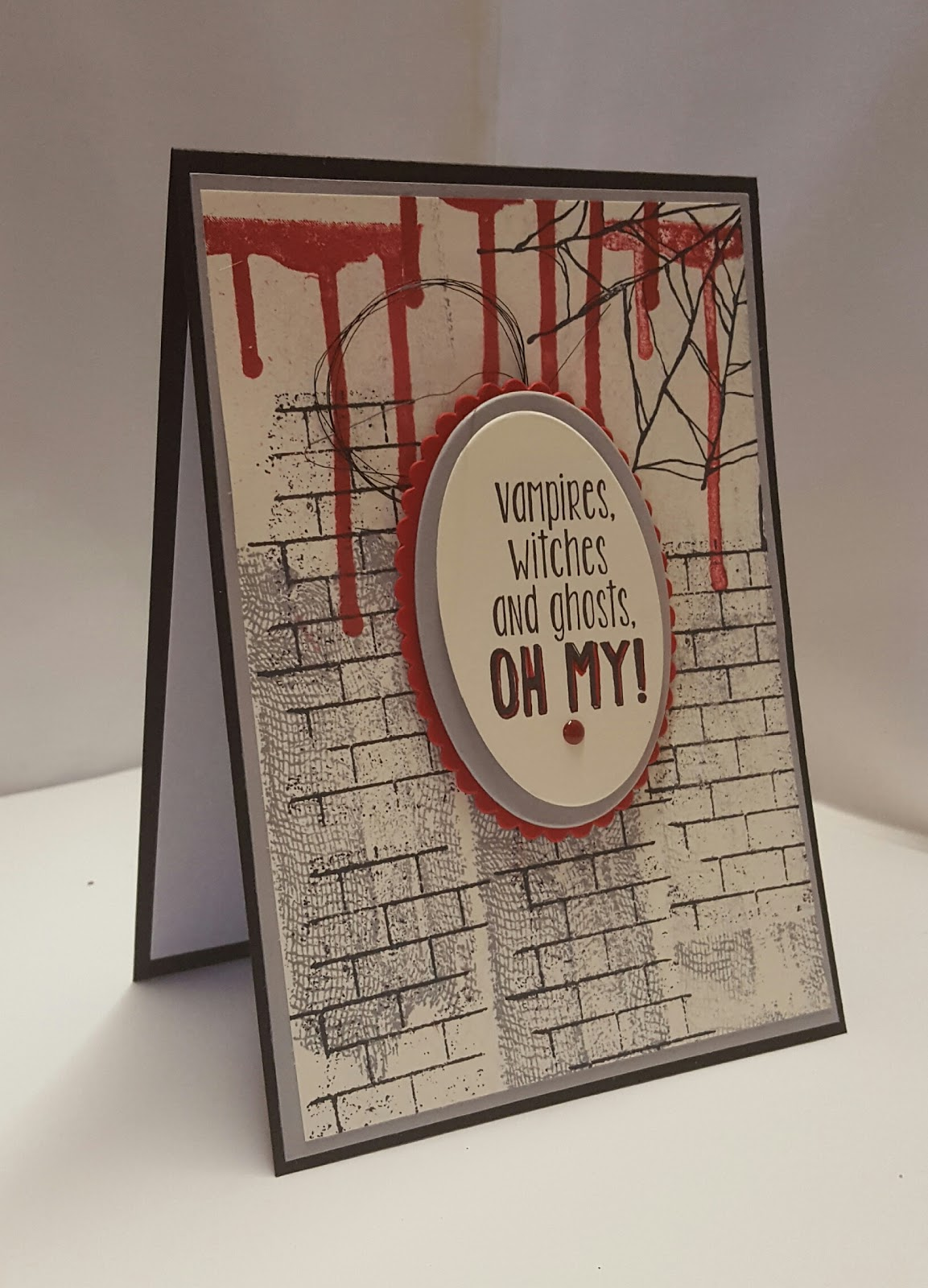stamping at the warren: ghoulish grunge handmade halloween card