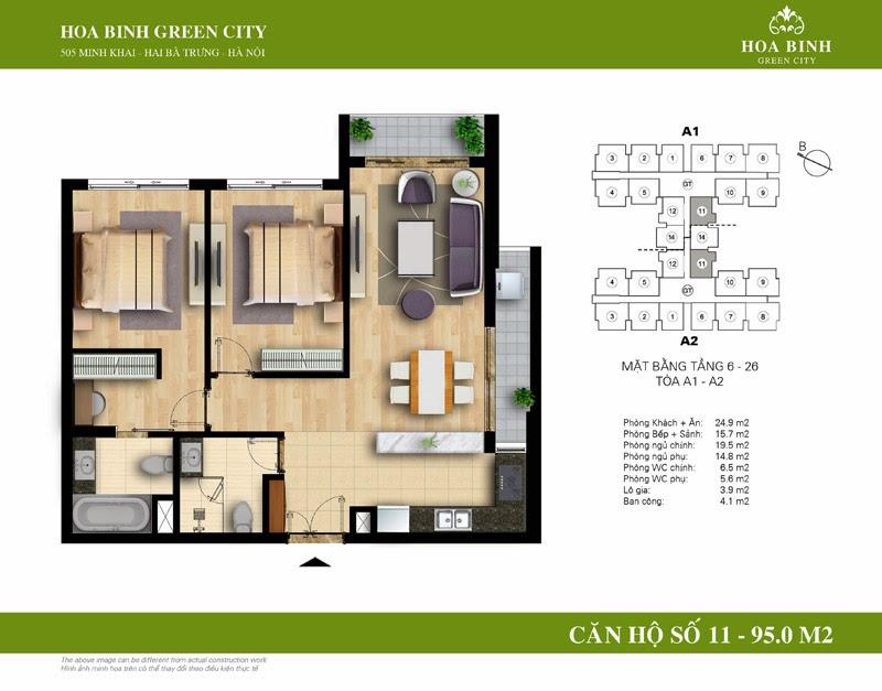 căn số 11 ( 95m2 ) chung cư Hòa Bình Green City