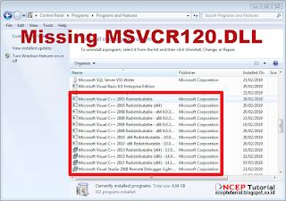 Mengatasi  Error Program Missing MSVCR & MSVCP DLL