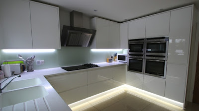 white u kitchen cabinets with LED lights