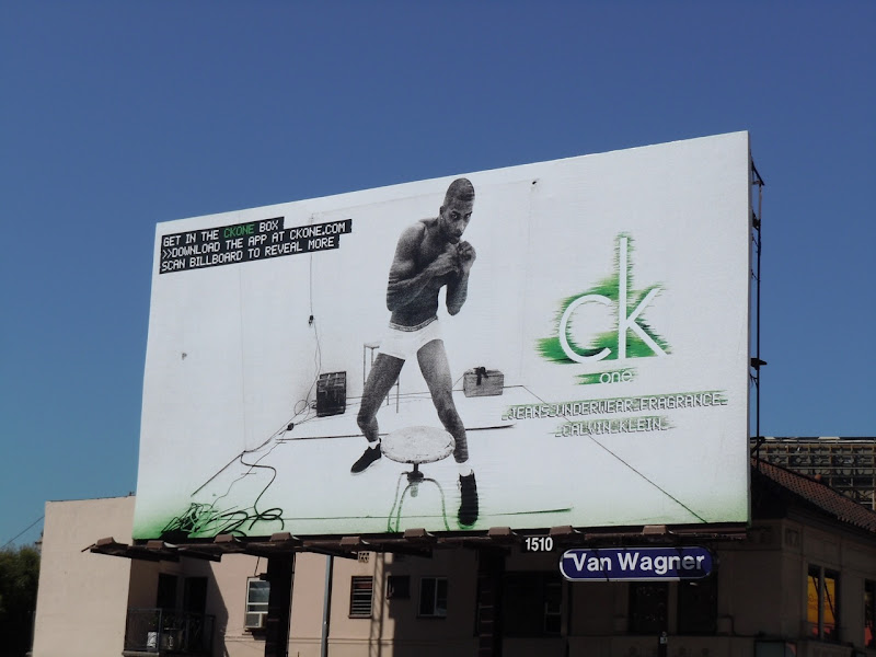 CK One male boxer model billboard