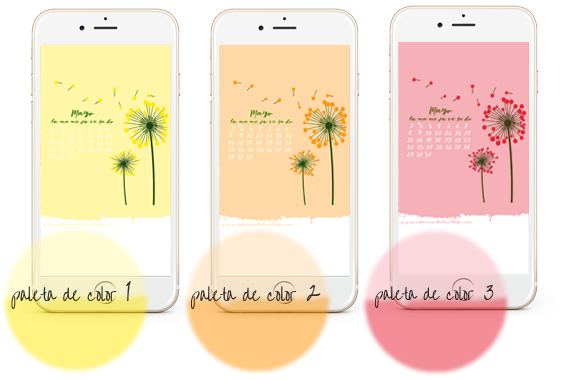 three color palettes and one only free mai calendar wallpaper