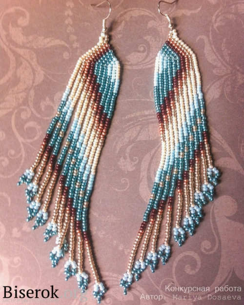 Diagonally Patterned Native American Style Beaded Earrings ...