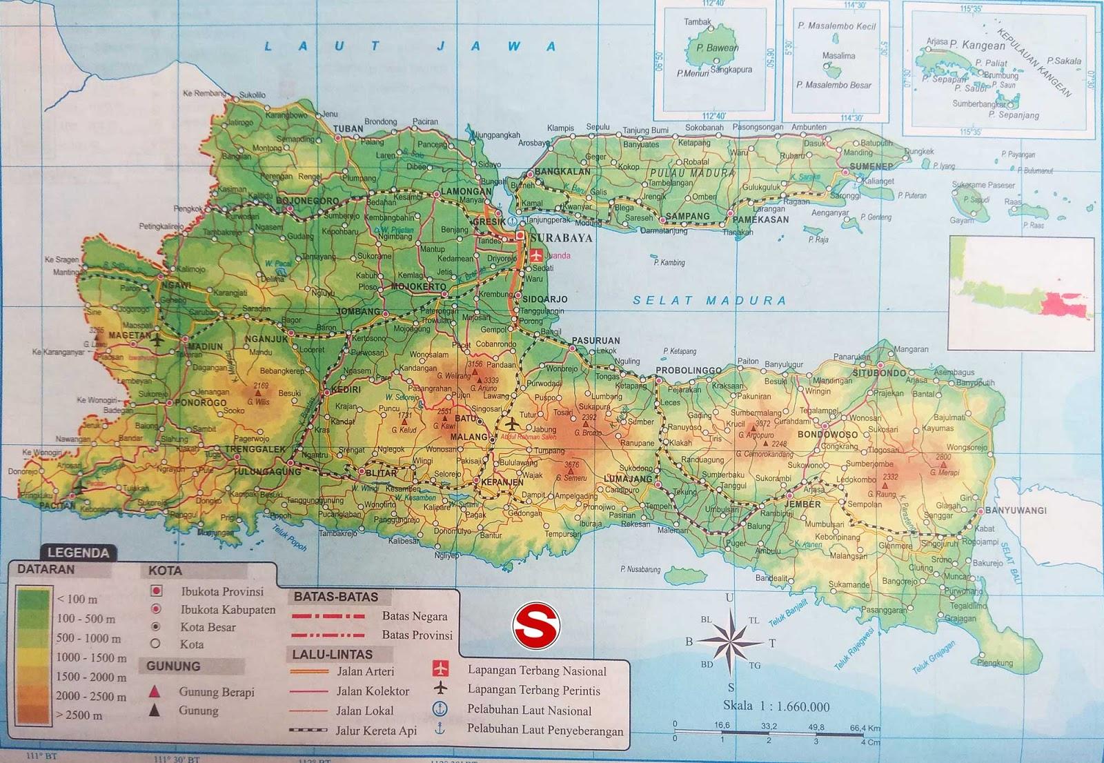 Peta Atlas Provinsi Jawa Timur di bawah ini mencakup peta dataran Peta Atlas Provinsi Jawa Timur