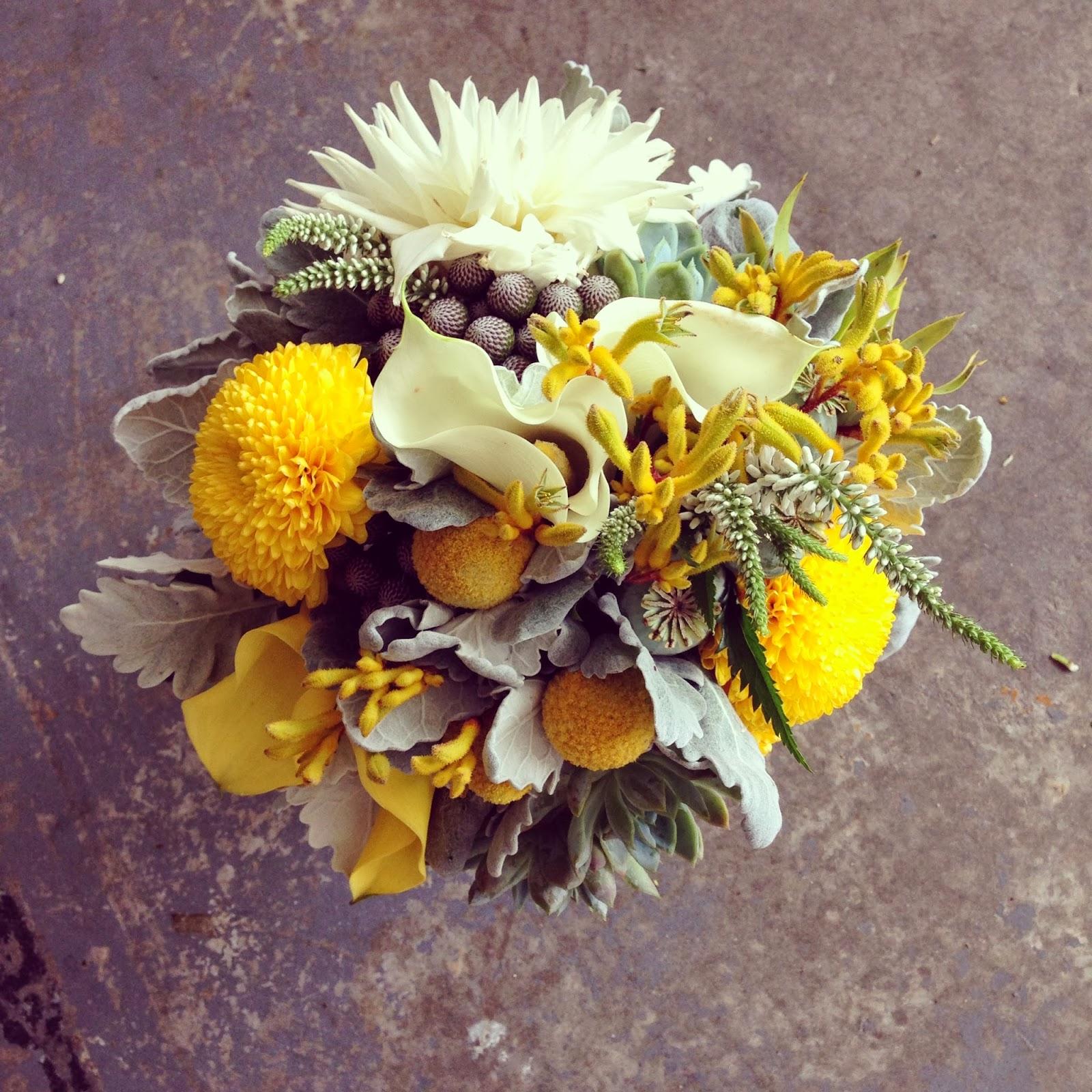 Yellow And Grey Wedding Flowers: Sugar Bee Flowers: Yellow, Grey And White Wedding Colours