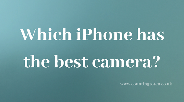 "A greenish box with text in it saying ""which iphone has the best camera?"""