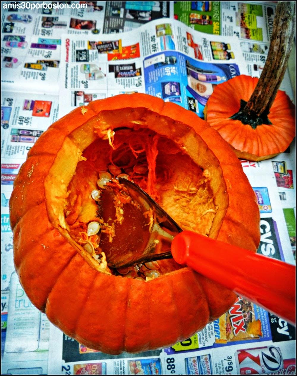 Calabazas Decoradas para Halloween: Corte de la Calabaza por Arriba