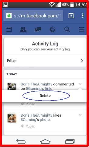 how to delete a comment on facebook on app  android