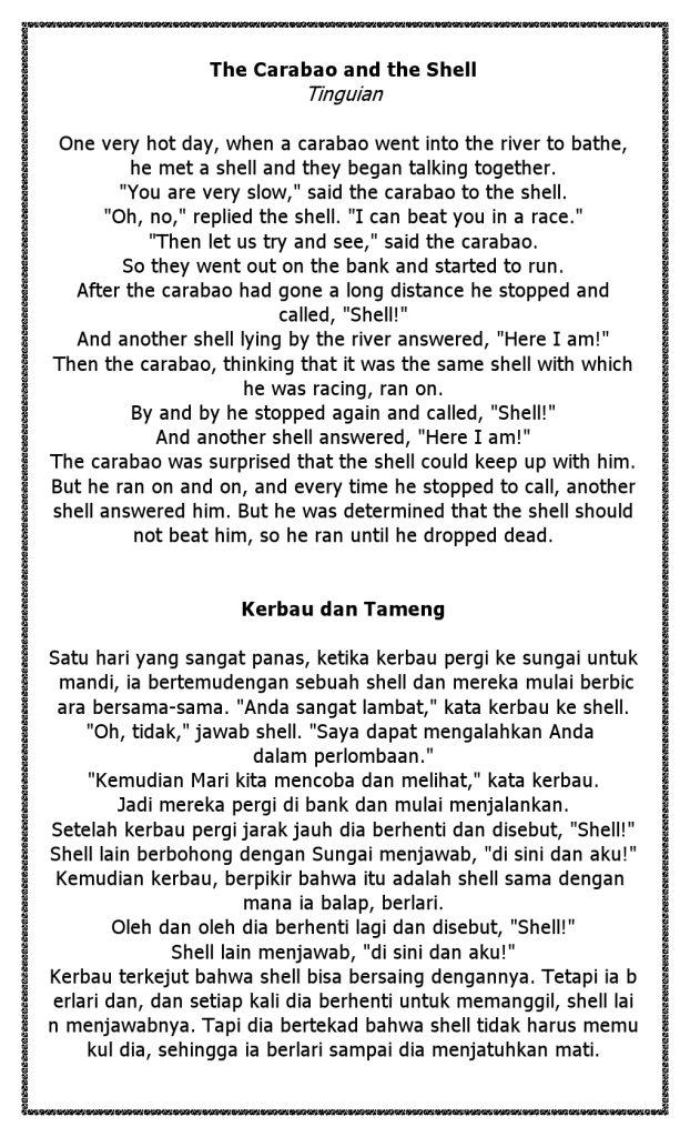 Cerita Kerbau dan Terjemahannya