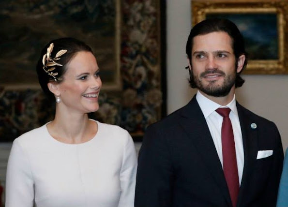 Queen Silvia, Princess Sofia, Princess Madeleine wore GIAMBATTISTA VALLI Appliquéd printed crepe dress