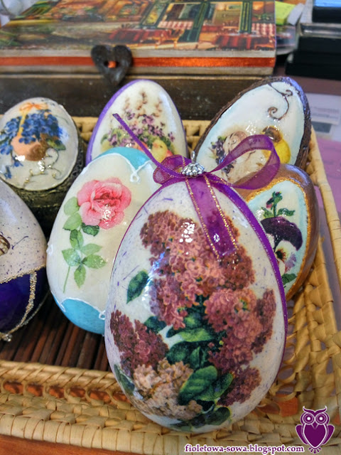 decoupage egg lilac