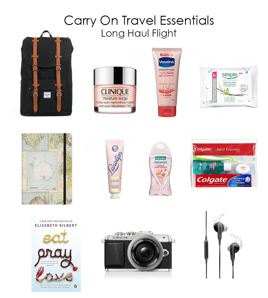 carry on travel essentials, long haul flight carry on essentials