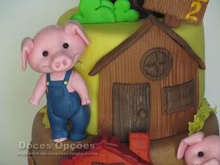 Os Três Porquinhos casa madeira
