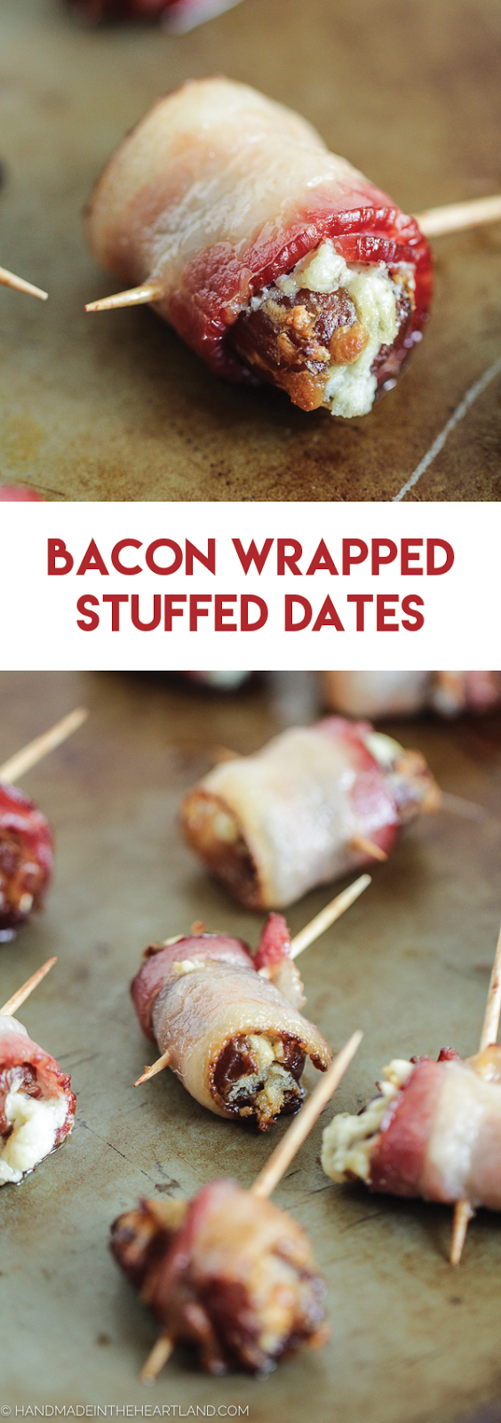 The perfect fancy appetizer for a party, bacon wrapped dates are so good!