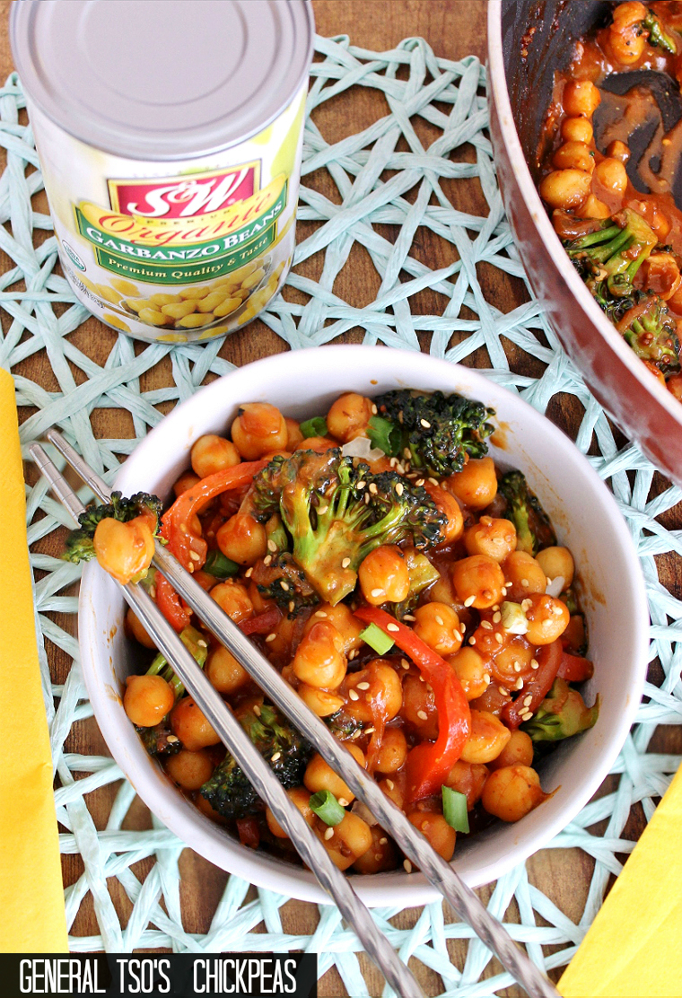 Quick, Budget-Friendly, Vegetarian General Tso's Chickpea Recipe. #SWBeans #IC #AD