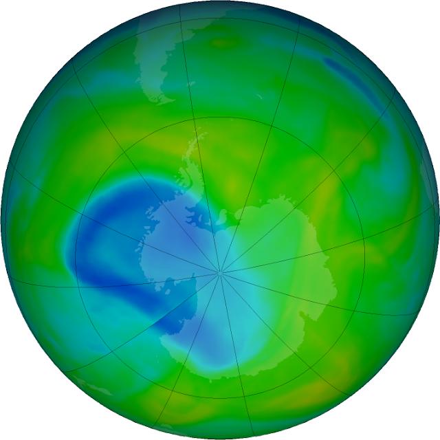 Estado do buraco de ozônio em 3.12.2018. Fonte: NASA