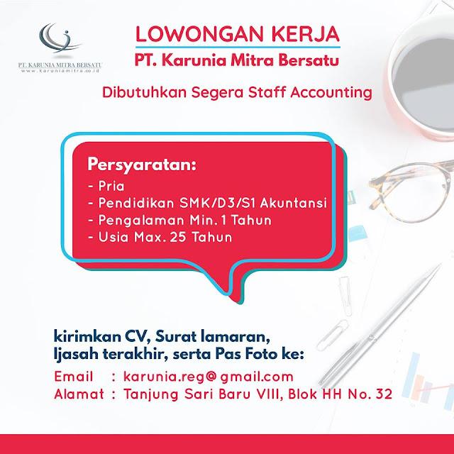 lowongan kerja staff accounting karunia mitra bersatu di surabaya