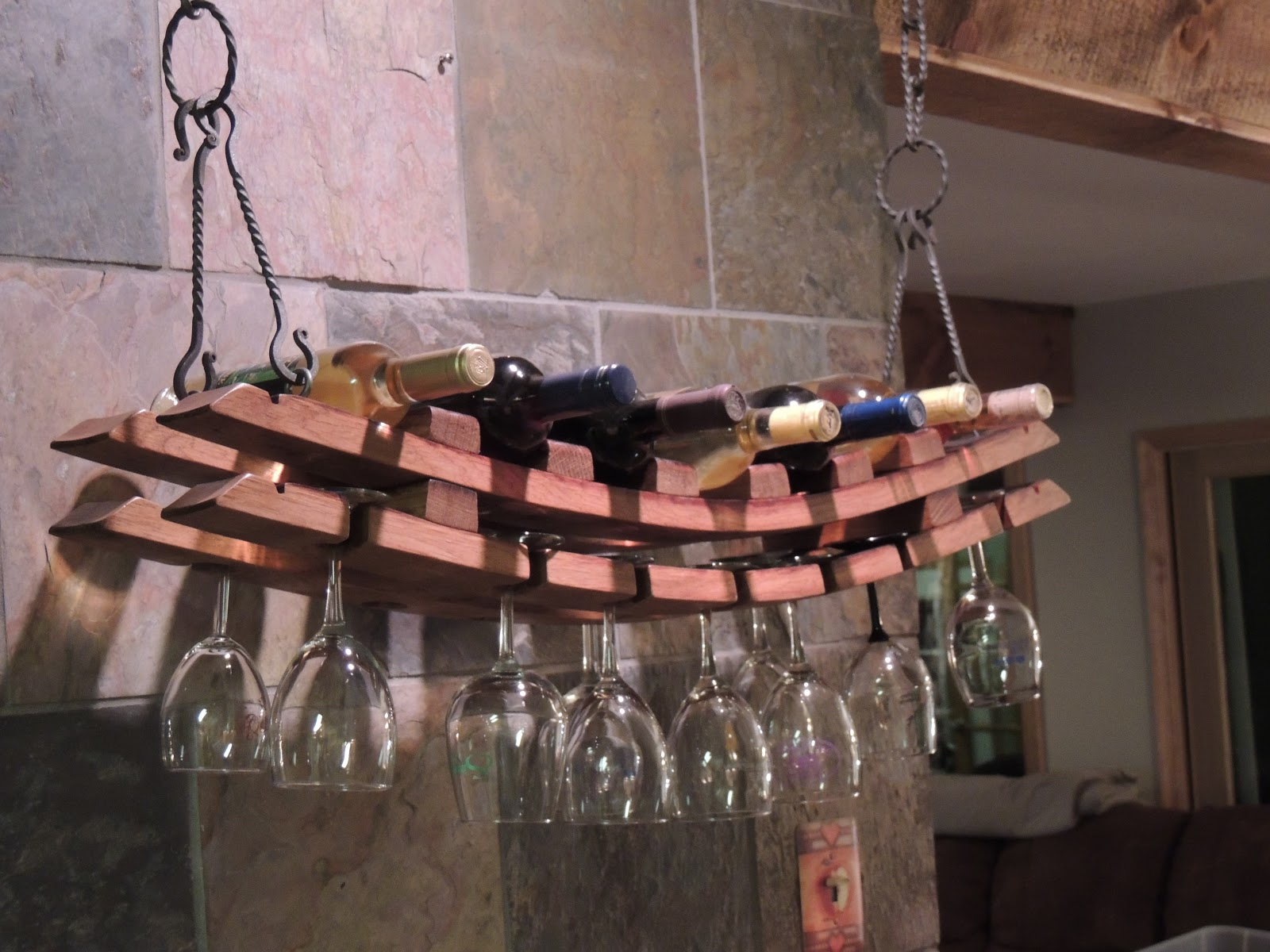 Hanging Bottle Rack Cork To Barrel Hanging Wine Bottle And Glass Rack