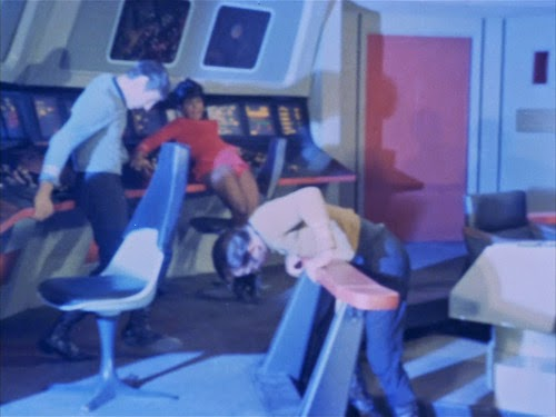 During another one of the Romulans' attacks, the crew discovers that Uhura favors granny panties of the future.