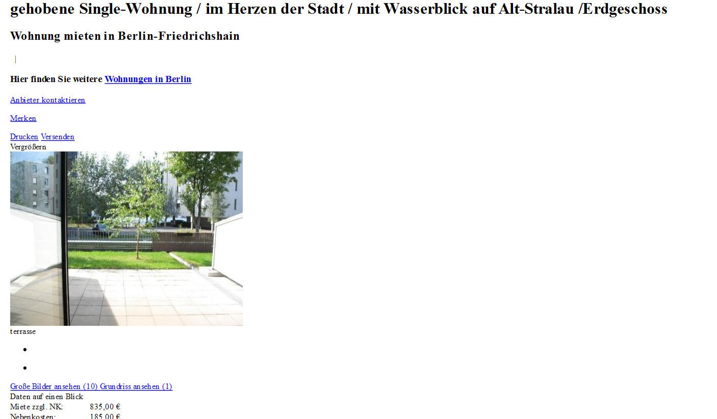 gehobene SingleWohnung im Herzen der Stadt mit Wasserblick auf AltStralau Erdgeschoss Alt