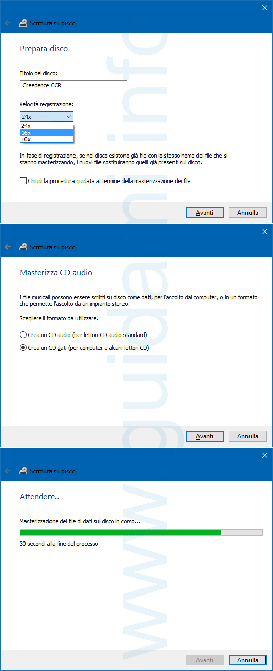 Strumento di masterizzazione di Windows 10