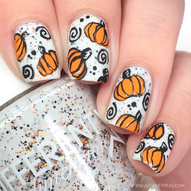 Whimsical Pumpkin Nail Art