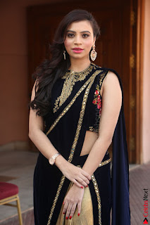 Priyanka Ramana in Beautiful Designer Black Saree At We Craft Elegance Expo Launch 064.JPG