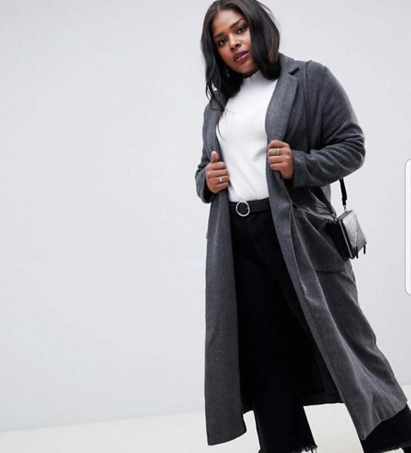 Glamorous Curve longline coat in herringbone €28.49