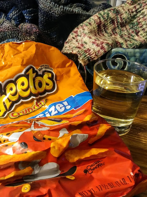Forget Pringles and wine.  Eat Cheetos and Our Dog Blue wine from Chateau Morrisette.  Yum!