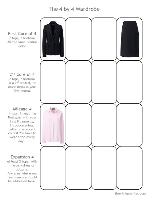 A black and pink interview outfit in the 4 by 4 Wardrobe Template