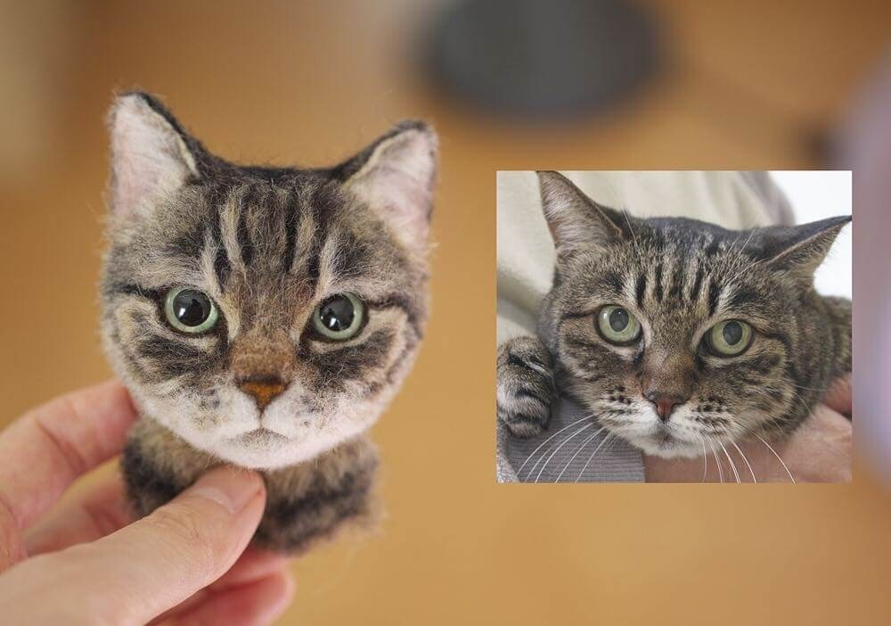 13-Wakuneco-Wool-Needle-Felt-Cat-Portraits-and-Video-Demonstration-www-designstack-co