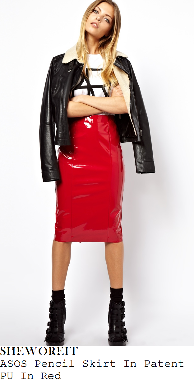 ba93896344 Lauren Pope's ASOS Bright Red Faux Patent PU Shiny High Waisted Tailored  Knee Length Pencil Skirt With Visible Seam Detail