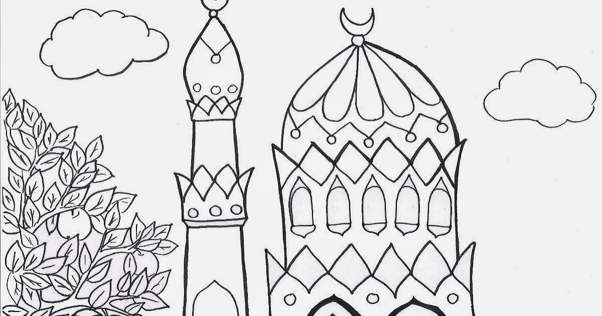 mosque nature hd coloring pages for kids. Black Bedroom Furniture Sets. Home Design Ideas