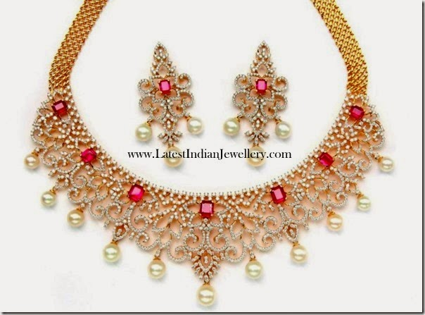 Diamond Bridal Necklace Square Rubies