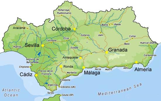 Mapa De Andalucía Físico.Mapa Politico De Andalucia Para Imprimir
