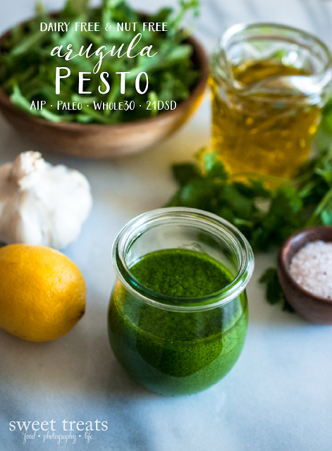 Arugula Pesto (Dairy-free, Nut-free, AIP, Paleo, Whole30, 21DSD, Vegan)