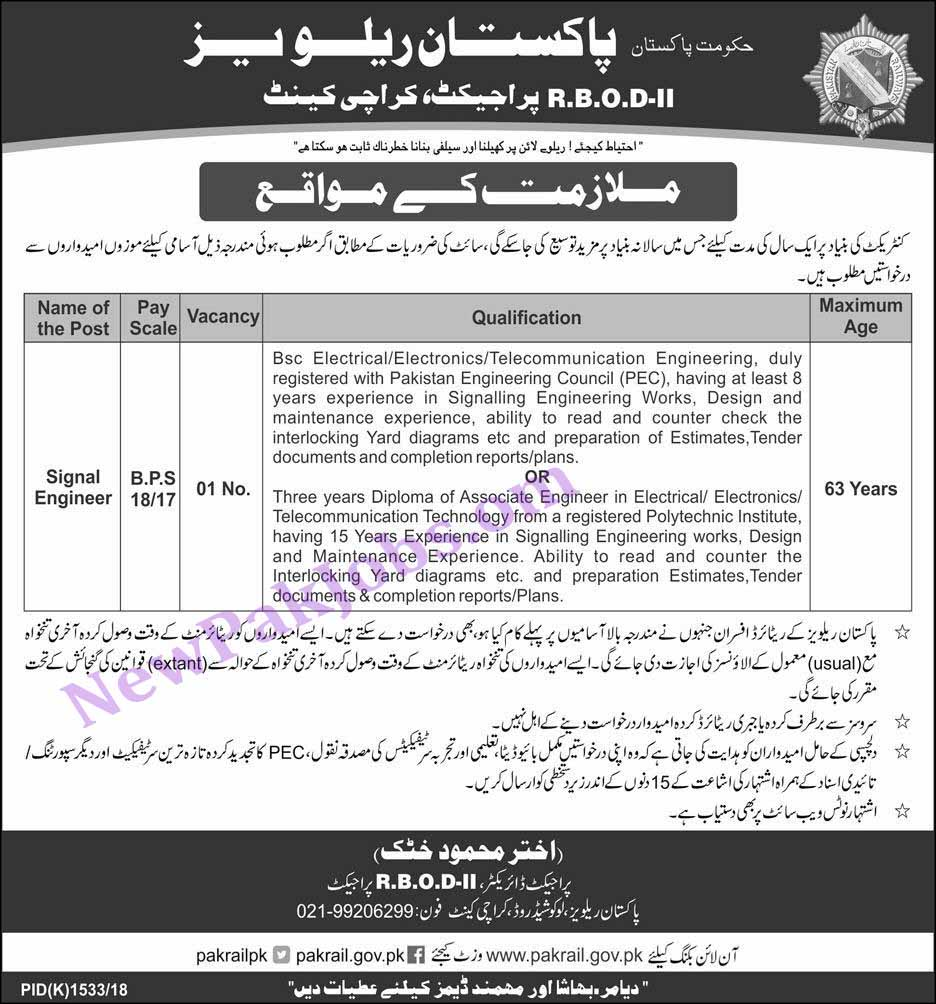 Signal Engineers Jobs in Pakistan Railways RBOD-2 Project - 26 Oct 2018
