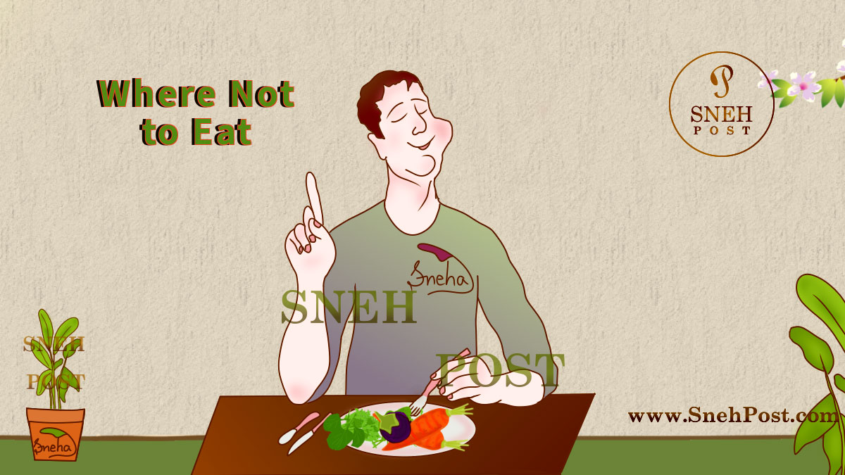 Bad eating habit: Where not to eat (Illustration of a happy man eating healthy food plate on table with fork and spoon, chewing it well, wearing a greenish-gray t-shirt and giving messege where one should not eat)