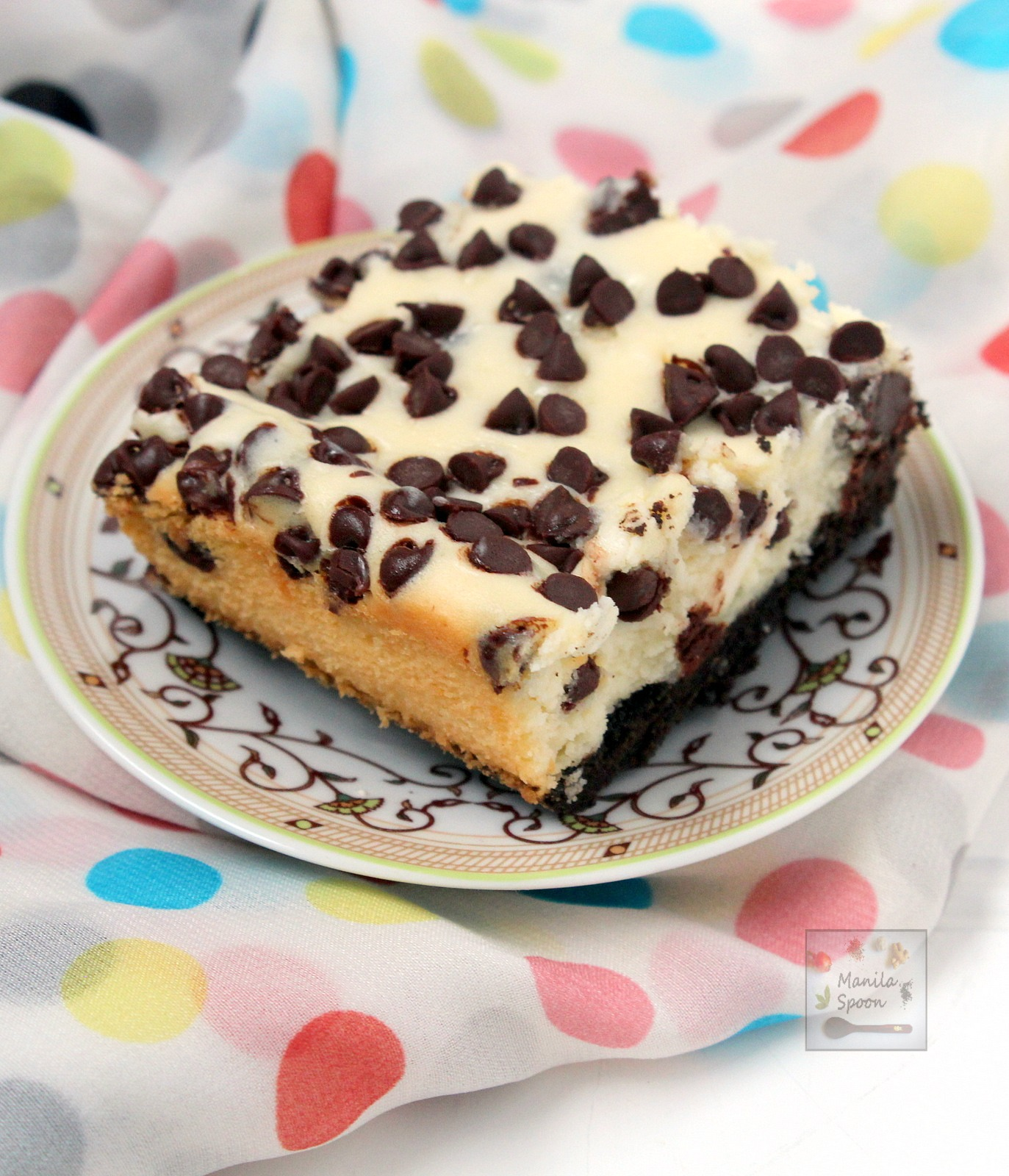 Chocolate Chip Cheesecake Bars | Manila Spoon