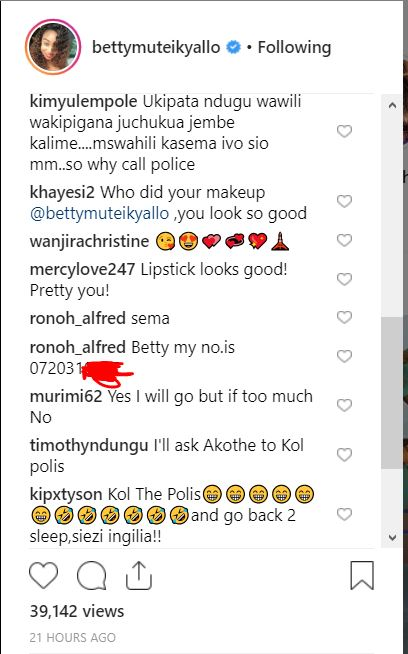 Thirsty Kenyan Parades Phone Number In Betty Kyallo Instagram