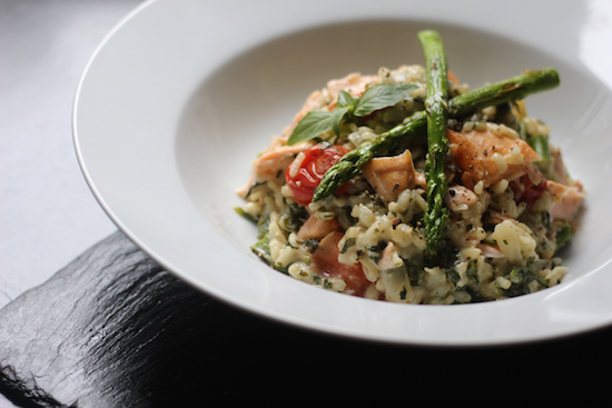 Salmon asparagus basil risotto recipes UK