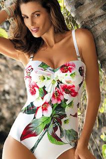 Costum de baie intreg cu push-up alb cu imprimeuri florale •